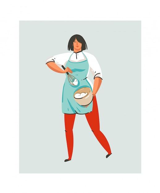 Fumetto moderno astratto disegnato a mano tempo di cottura divertente icona illustrazioni con cucina chef donna in grembiule blu che prepara panna montata in pentola isolato su bianco Vettore Premium