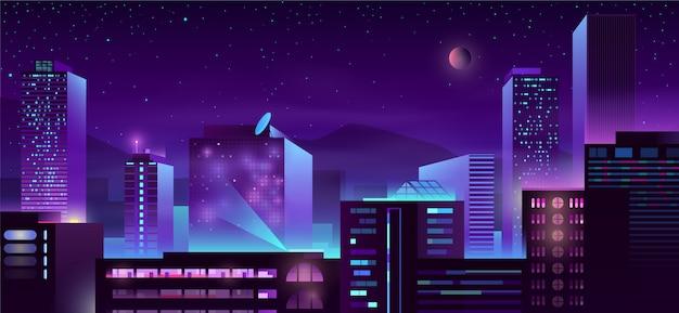 Fumetto moderno delle costruzioni di notte della metropoli Vettore gratuito