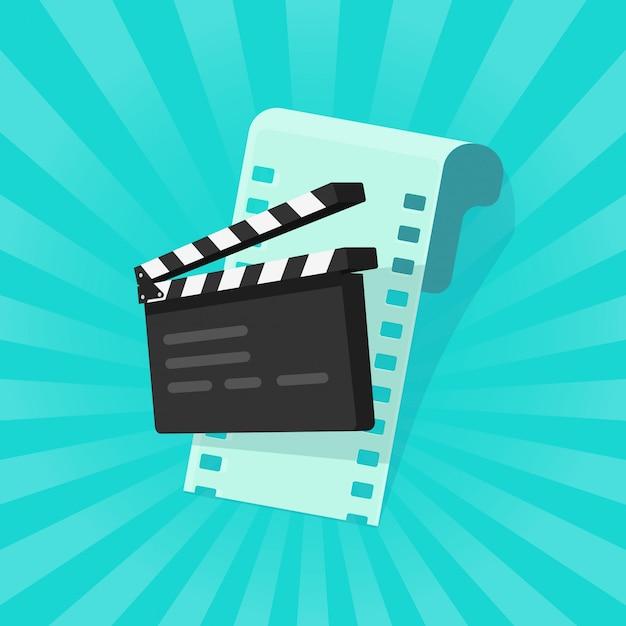 Fumetto piano di film o cinema online concetto Vettore Premium