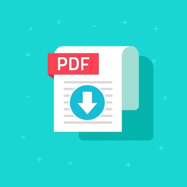Fumetto piano di simbolo di vettore dell'icona di download pdf Vettore Premium