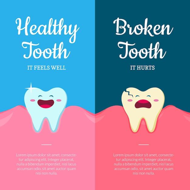 Fumetto rotto e malato denti rotti in bocca con le gengive Vettore Premium