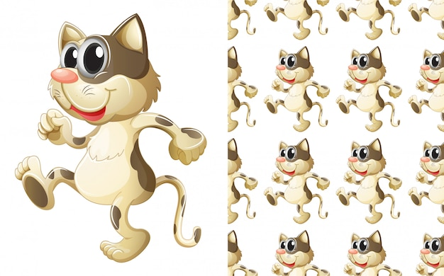 Fumetto senza cuciture del modello animale del gatto Vettore gratuito