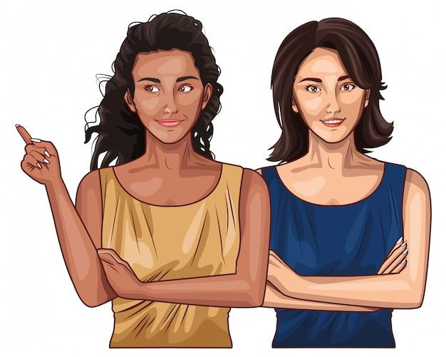 Fumetto sorridente degli amici delle donne di pop art Vettore Premium