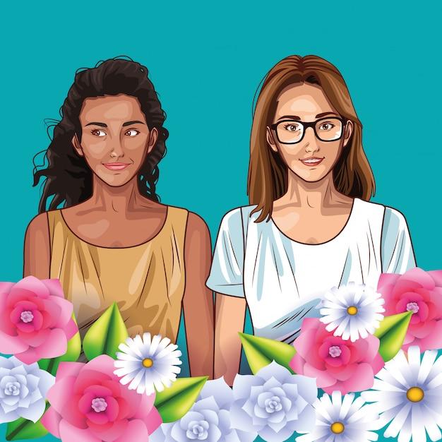 Fumetto sorridente dei modelli delle donne di pop art Vettore Premium