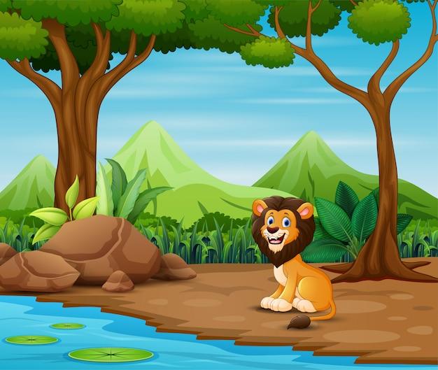 Fumetto spaventoso del leone che vive nella foresta Vettore Premium