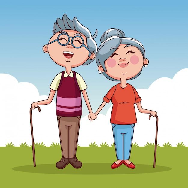 Fumetto sveglio dei nonni Vettore Premium