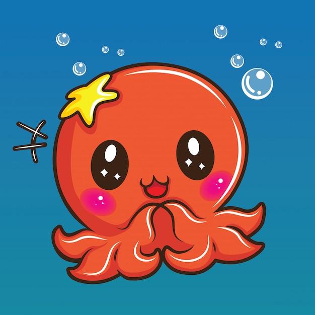 Fumetto sveglio del calamaro, concetto animale del fumetto. Vettore Premium