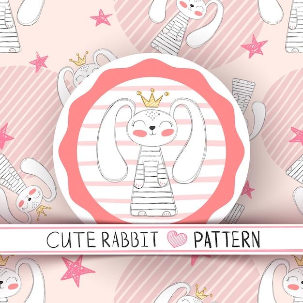 Fumetto sveglio del coniglio del modello senza cuciture Vettore Premium