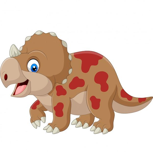 Fumetto sveglio del triceratopo su bianco Vettore Premium