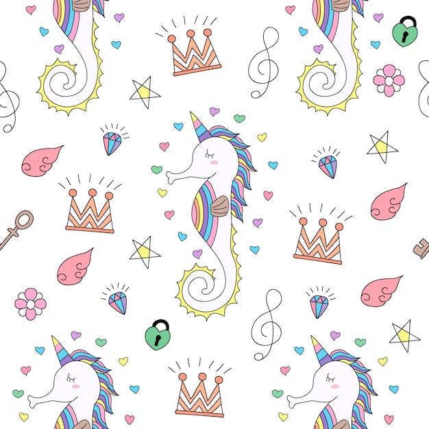 Fumetto sveglio dell'unicorno del modello senza cuciture disegnato a mano. Vettore Premium