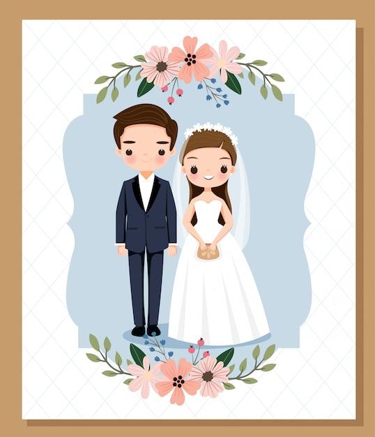 Fumetto sveglio dello sposo e della sposa per il modello della carta dell'invito di nozze Vettore Premium