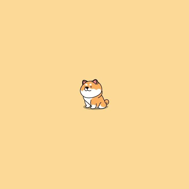 Fumetto sveglio di seduta del cane di inu di shiba Vettore Premium