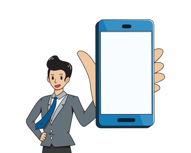 Fumetto vettoriale di uomo d'affari e grande smartphone Vettore Premium