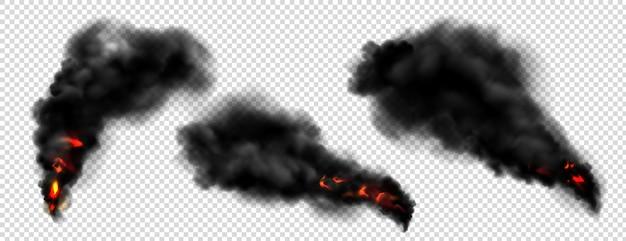 Fumo nero con fuoco, nuvole di nebbia scura o scie di vapore. Vettore gratuito