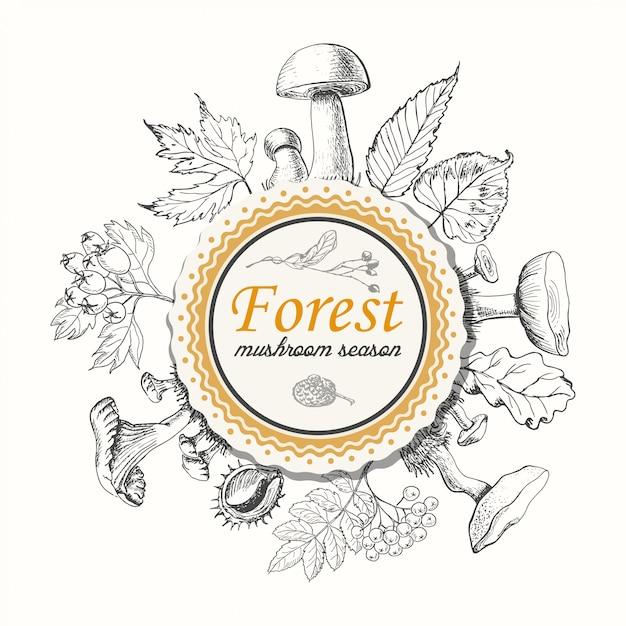 Funghi e foglie autunnali in un cerchio Vettore Premium
