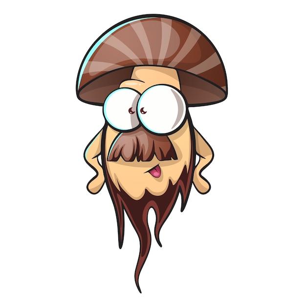 Fungo dei cartoni animati con barba scaricare vettori premium