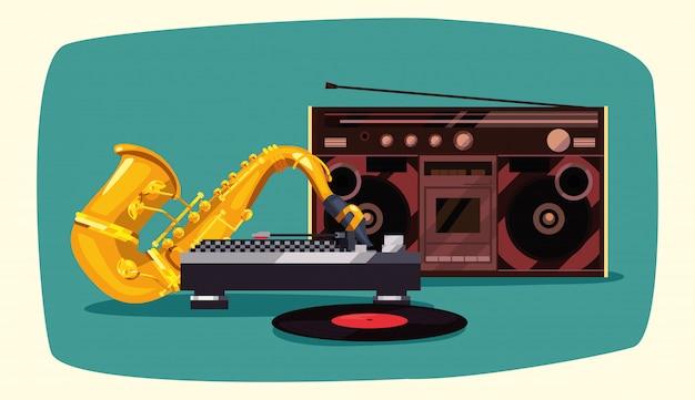 Funk stereo sassofono boombox retrò Vettore Premium