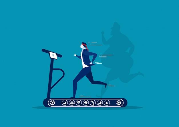 Funzionamento dell'uomo d'affari sulla pedana mobile con perdita di peso grassa surdimensionata del tipo dell'ombra con l'icona della brughiera sull'illustratore blu del fondo. Vettore Premium