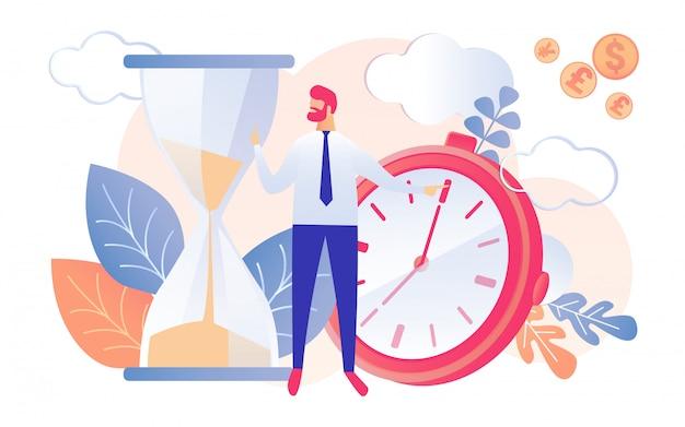 Funzionamento dell'uomo d'affari watch hourglass del fumetto Vettore Premium