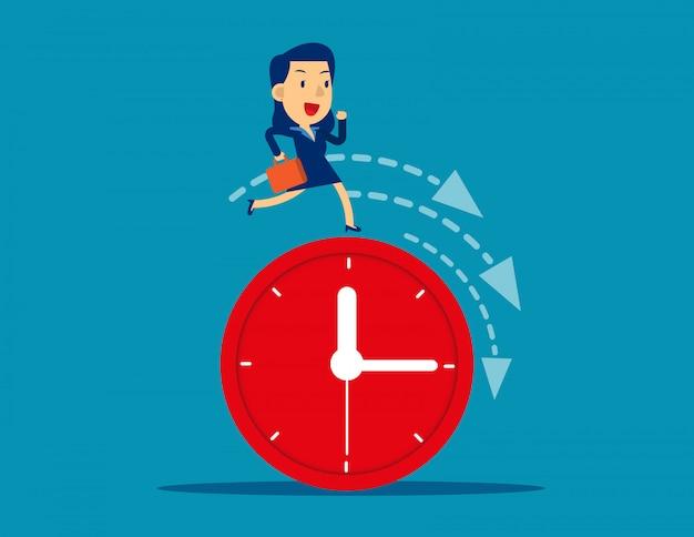 Funzionamento della donna di affari sull'orologio che rappresenta scadenza Vettore Premium