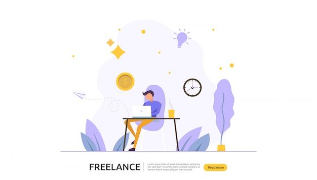 Funzionamento remoto di concetto freelance Vettore Premium