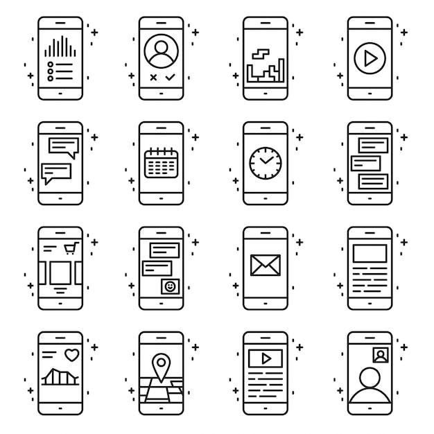 Funzioni del telefono astuto e icone vettoriali di applicazioni impostate in stile di contorno. illustrazione linea di segno di raccolta mobile. Vettore gratuito
