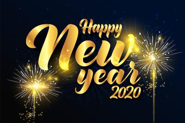 Fuochi d'artificio anno nuovo sfondo 2020 Vettore gratuito