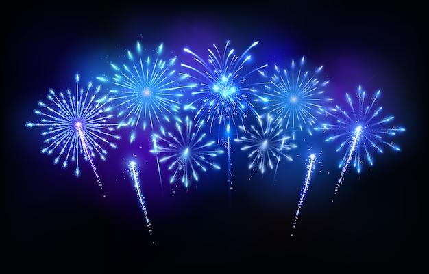 Fuochi d'artificio blu Vettore Premium