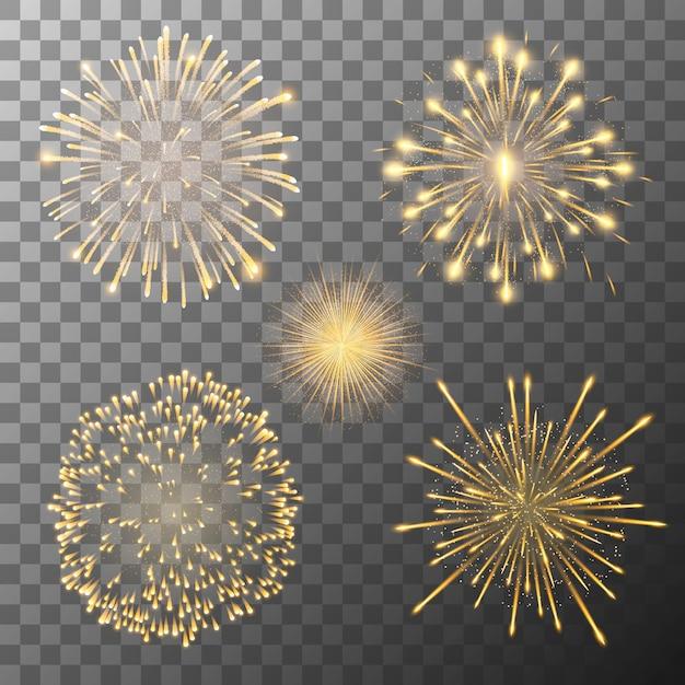 Fuochi d'artificio che esplodevano in varie forme Vettore Premium