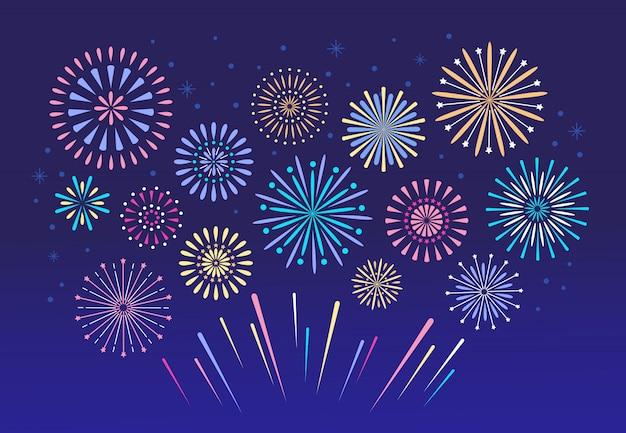 Fuochi d'artificio colorati. petardo pirotecnico di natale per set festival Vettore Premium