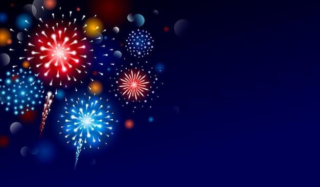 Fuochi d'artificio di design con lo spazio della copia Vettore Premium