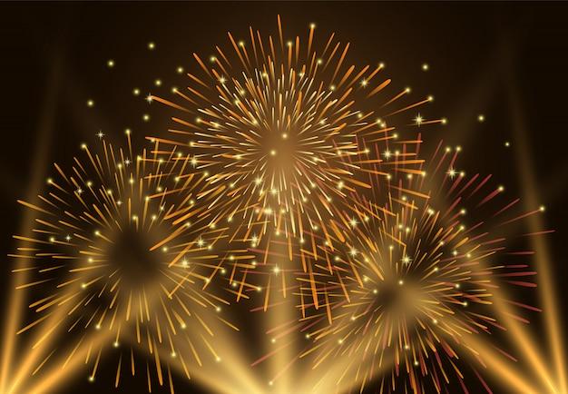 Fuochi d'artificio e luce sull'illustrazione del cielo notturno Vettore Premium