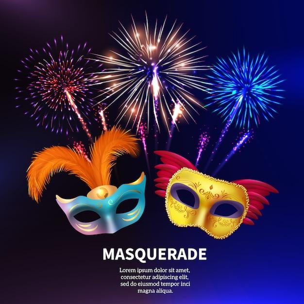 Fuochi d'artificio in maschera per feste Vettore gratuito