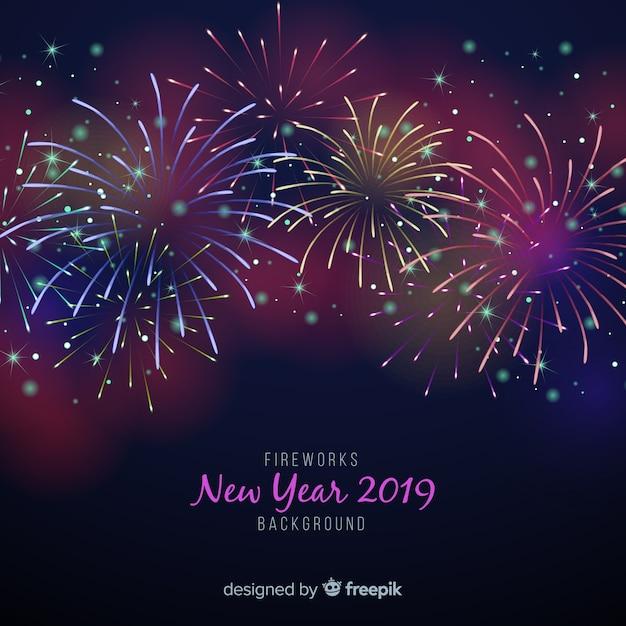 Fuochi d'artificio nuovo anno 2019 sfondo Vettore gratuito
