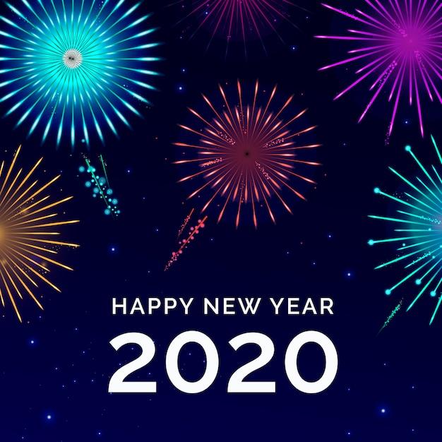 Fuochi d'artificio nuovo anno 2020 Vettore gratuito