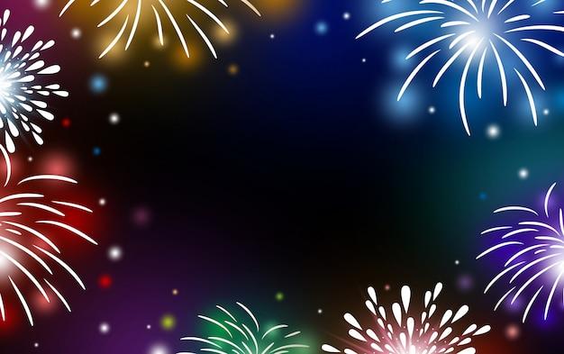 Fuochi d'artificio su sfondo nero con spazio di copia Vettore Premium