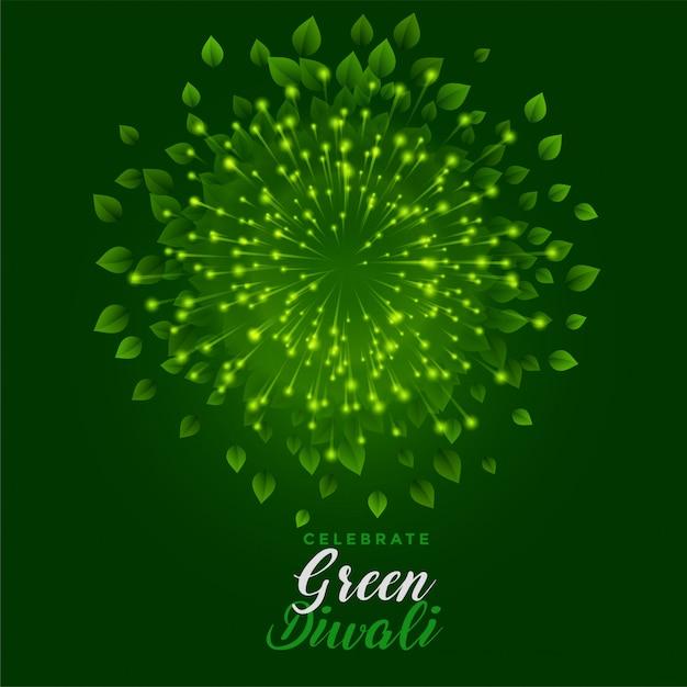 Fuochi d'artificio verdi con le foglie per la celebrazione felice di diwali Vettore gratuito