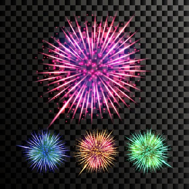 Fuochi d'artificio Vettore Premium