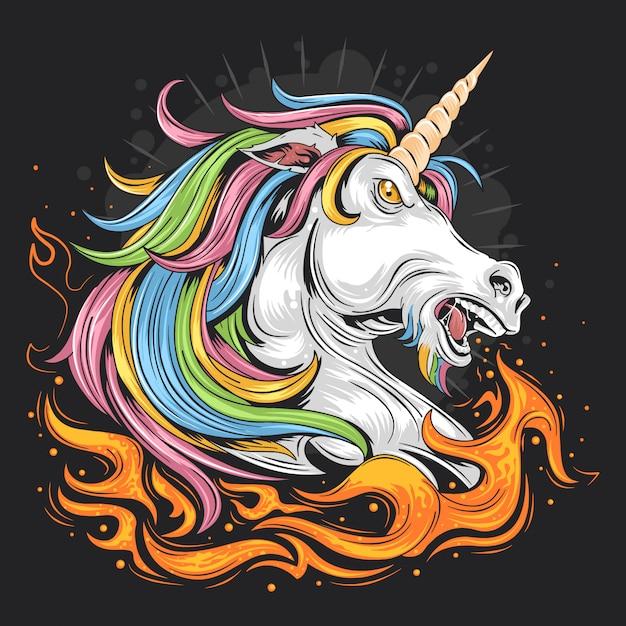 Fuoco unicorno colore pieno Vettore Premium