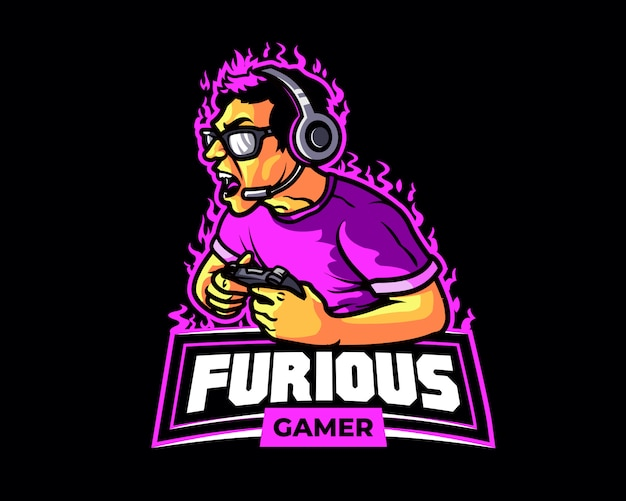 Furious gamer cartoon logo mascot Vettore Premium