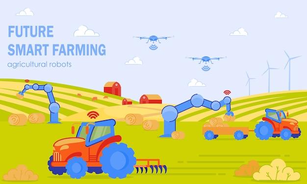 Future smart farming agricultural robots flat. Vettore Premium