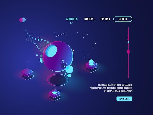Futuristico arte astratta, veicoli spaziali, pianeta, sala server, elaborazione dati, cloud storage concetto vec Vettore gratuito