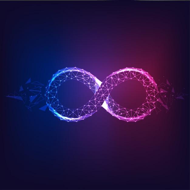Futuristico incandescente viola poligonale al simbolo infinito blu isolato su oscurità. Vettore Premium