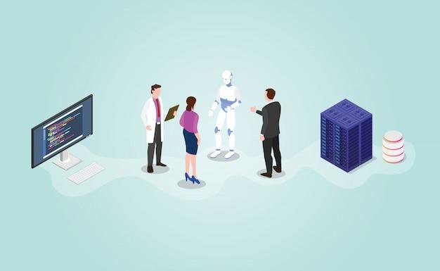 Futuro robot tecnologico ai sviluppo dell'intelligenza artificiale con stile piatto moderno isometrico Vettore Premium