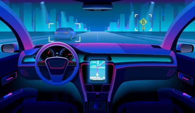 Futuro veicolo autonomo, interno auto senza conducente con ostacoli e panorama notturno all'esterno Vettore Premium
