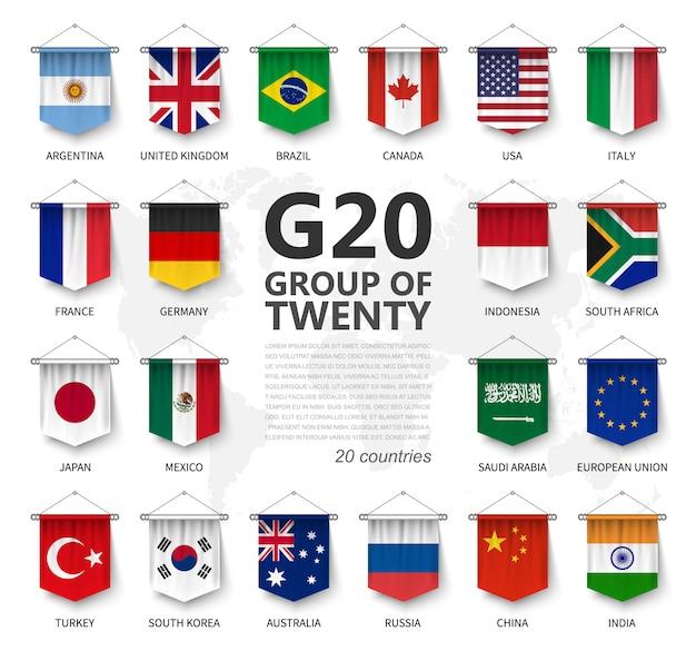 G20, gruppo di venti paesi e bandiera di appartenenza Vettore Premium