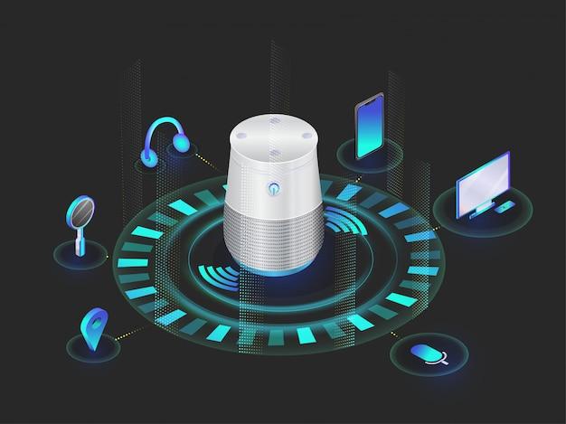 Gadget di riconoscimento vocale. Vettore Premium