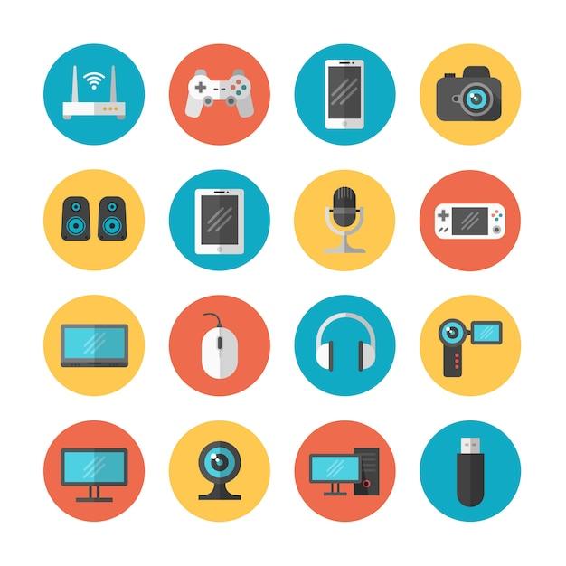 Gadget elettronici e icone piatte del dispositivo Vettore Premium