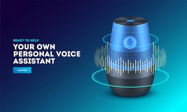Gadget intelligente di riconoscimento vocale. Vettore Premium