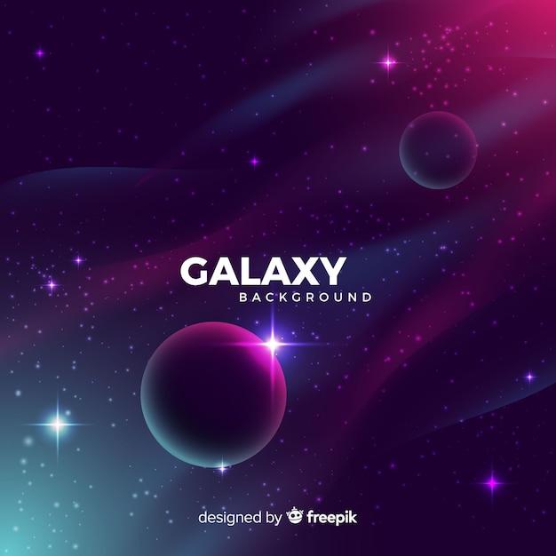Galassia realistica con sfondo di pianeti Vettore gratuito